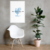 Kitchen Decor: Blue Rooster I Cook Therefore I am Framed poster