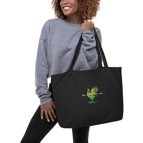 I Cook Therefore I am Green Ombre Large organic tote bag
