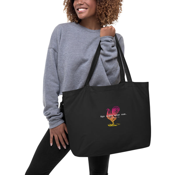 I Cook Therefore I am Ombre Rooster Large Organic Tote Bag