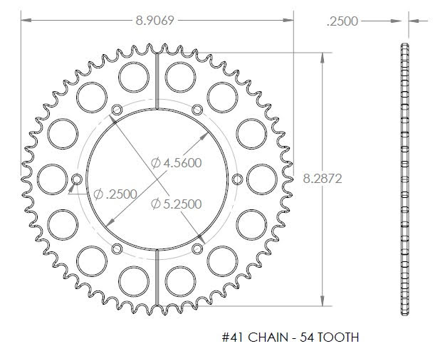 Billet Aluminum Axle Sprocket #41 Chain - 54 Tooth
