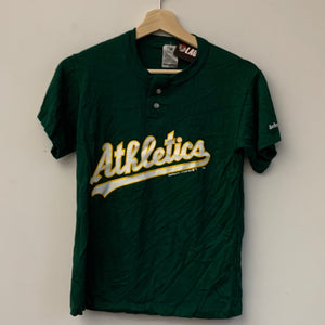 Youth Swingster Oakland Athletics Green/Yellow/White Button Tee Shirt