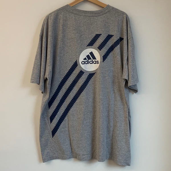 Adidas Three Stripe Gray Tee Shirt