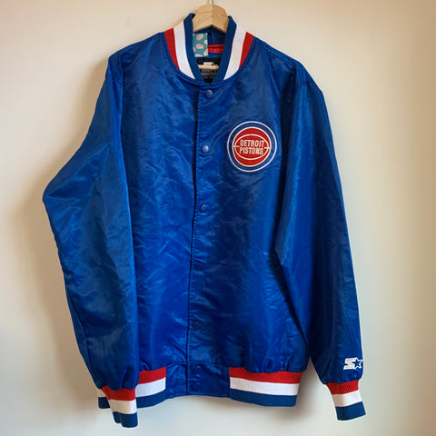 Starter Black Label Detroit Pistons Blue Satin Jacket