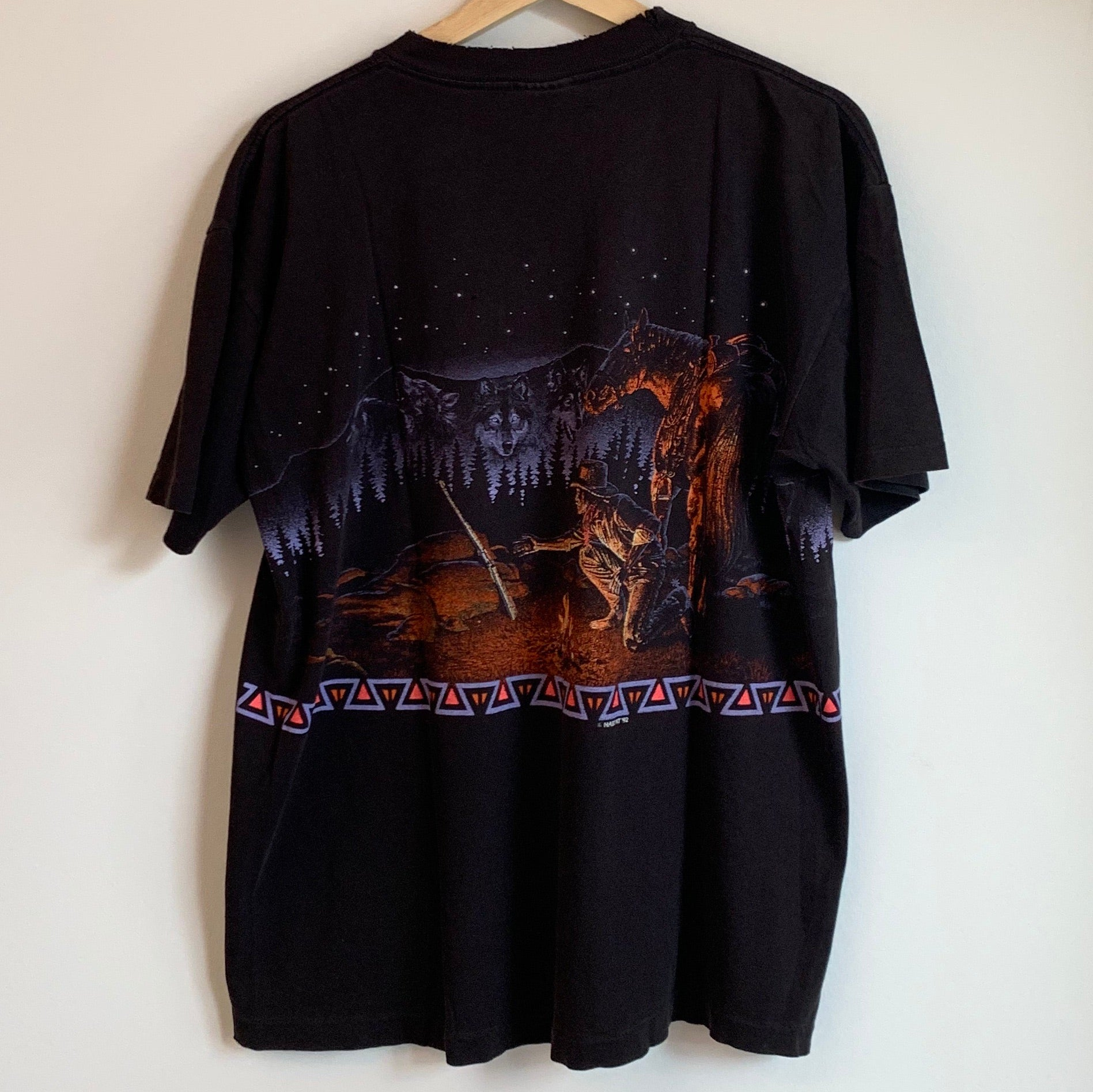 Cowboy Wolf Skyline Black Tee Shirt