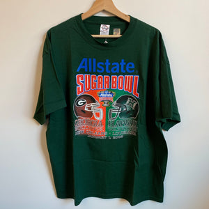 2008 All state Sugarbowl Georgia Bulldogs Hawaii Warriors Green Tee Shirt