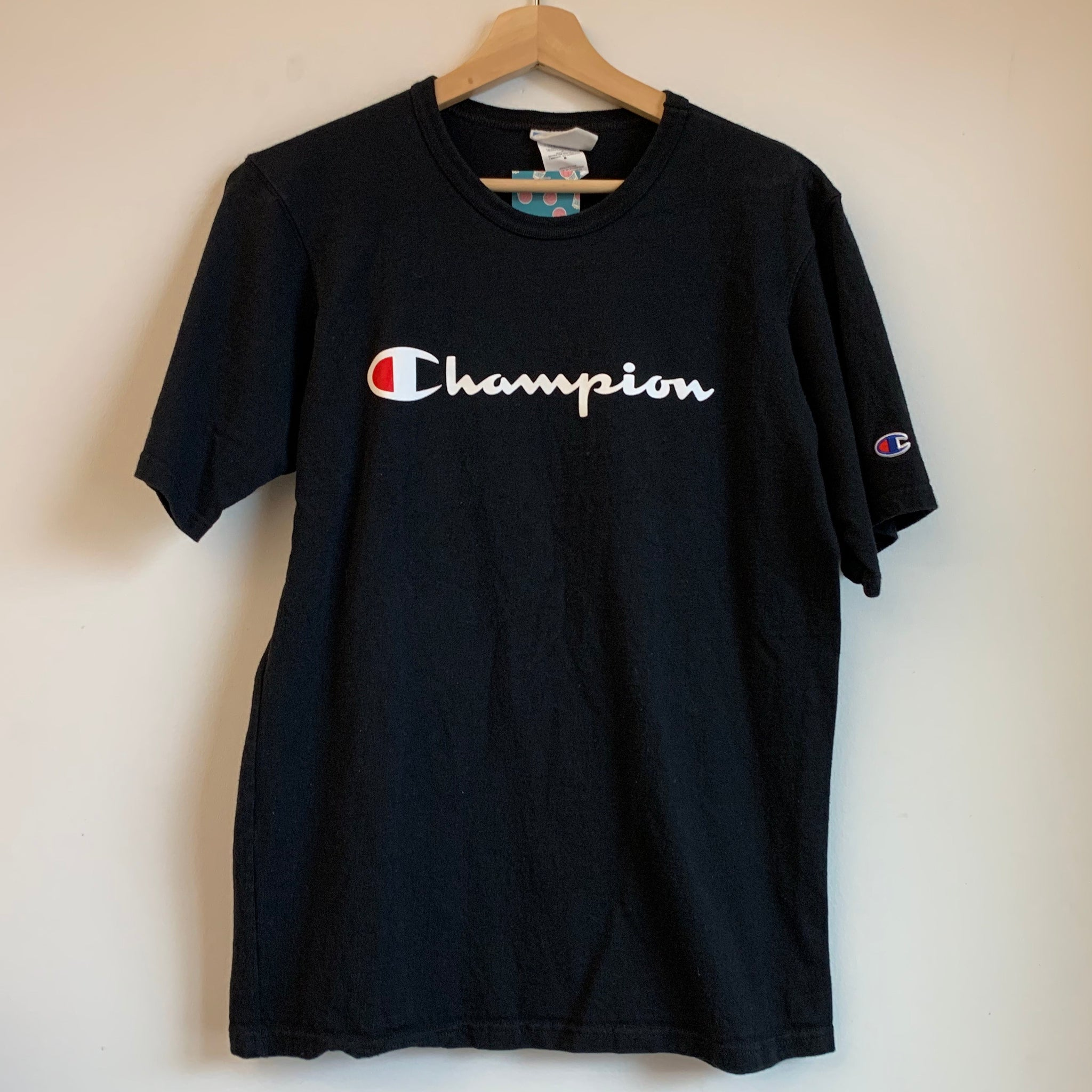 Champion Spellout Black/White Tee Shirt