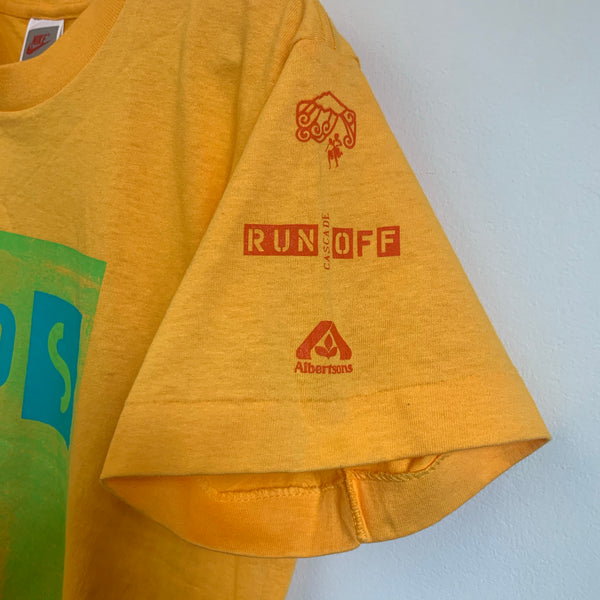 Nike Gray Tag 1991 Kids Cascade Run Off Yellow Youth Tee Shirt