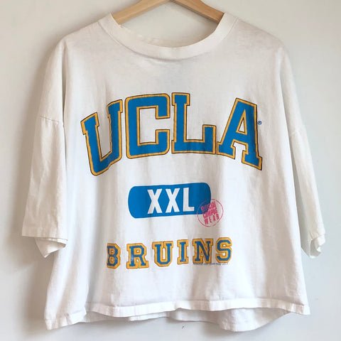 UCLA Bruins White Cropped Tee Shirt