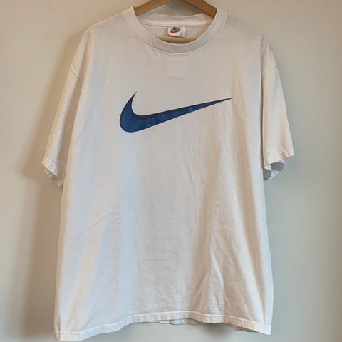 Nike Large Blue Swoosh White Tee Shirt
