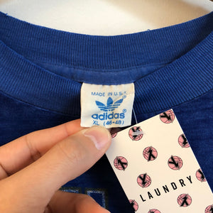 1980s adidas Blue Word Mark Logo Tee Shirt
