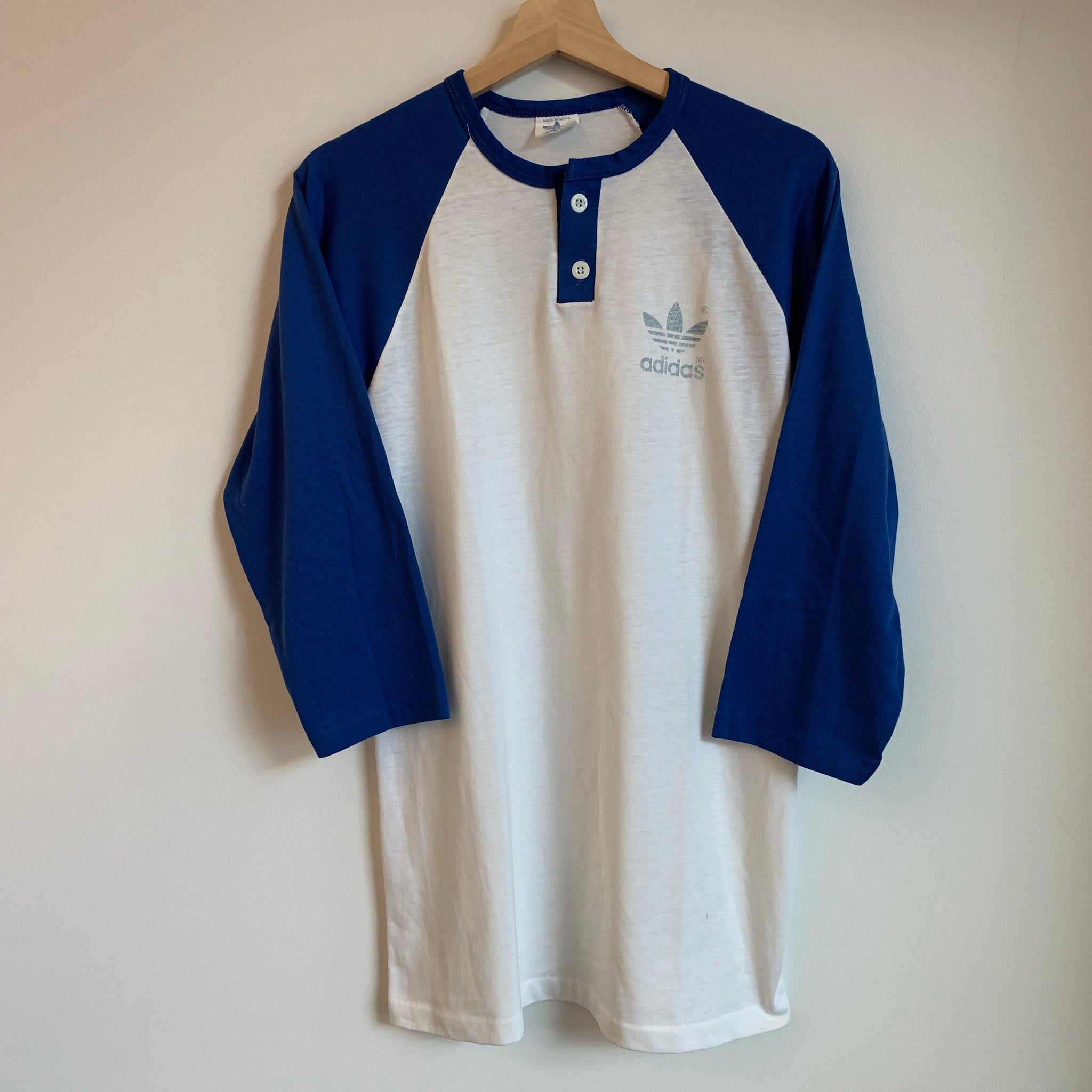 Adidas White/Blue Baseball Tee Shirt