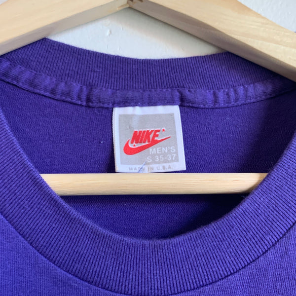 "Nike Gray Tag ""Kick Some Butt"" Double-Sided Purple Tee Shirt"