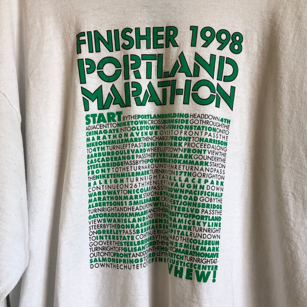 Nike 1998 Portland Marathon Finisher White Long Sleeve Tee Shirt