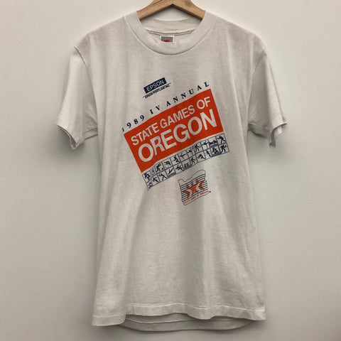 1989 Nike Gray Tag State Games of Oregon White Tee Shirt