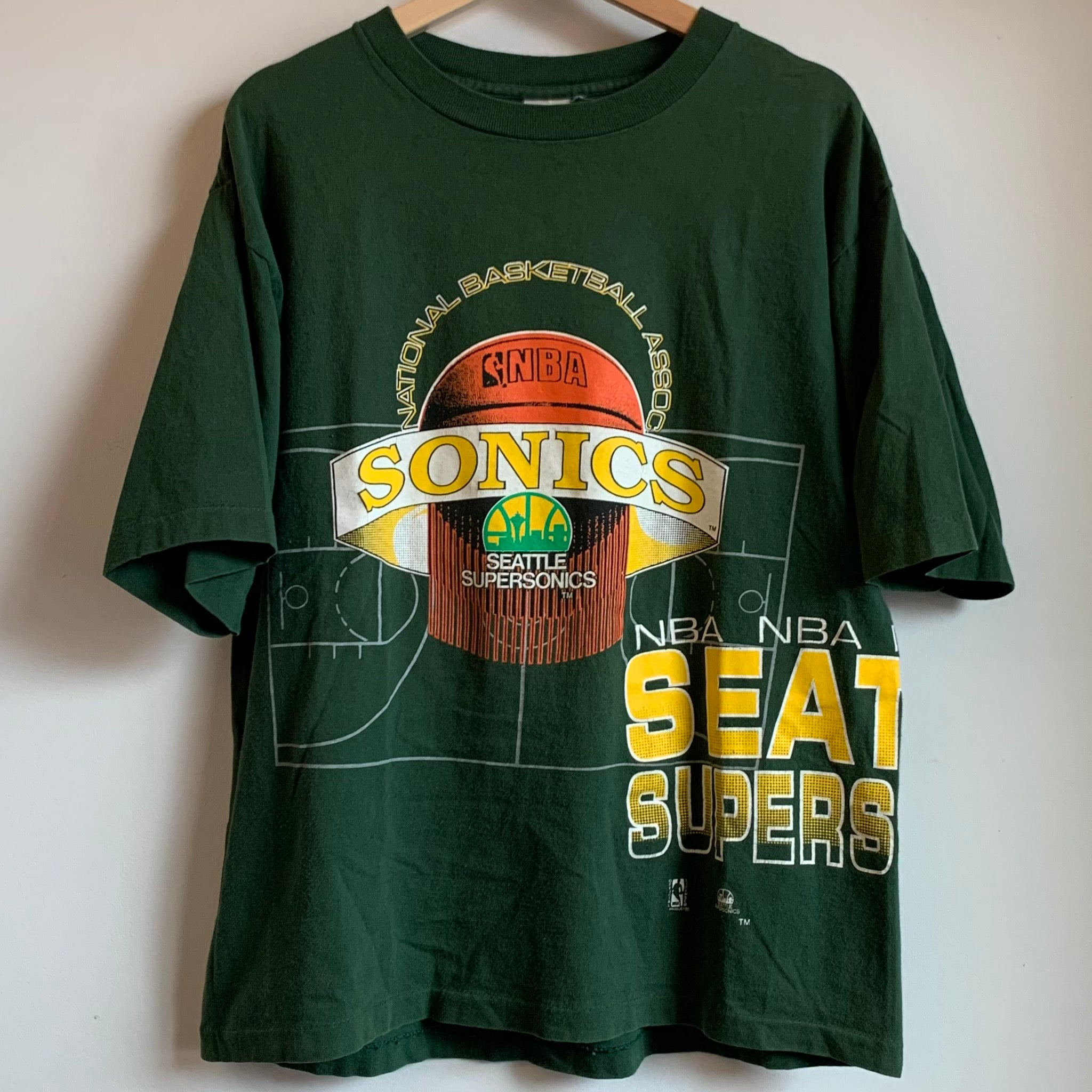 Competitor Seattle SuperSonics Green All-Over-Print Tee Shirt