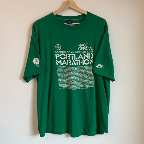 Nike Blue Tag Portland Marathon Race Official Green Tee Shirt