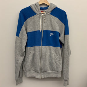Nike Gray & Blue Zip-Up Hoodie Sweatshirt