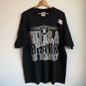1995 Oakland Raiders Silver & Black is Back Tee Shirt