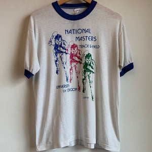 1980s Oregon Ducks National Masters Track & Field Ringer Tee Shirt