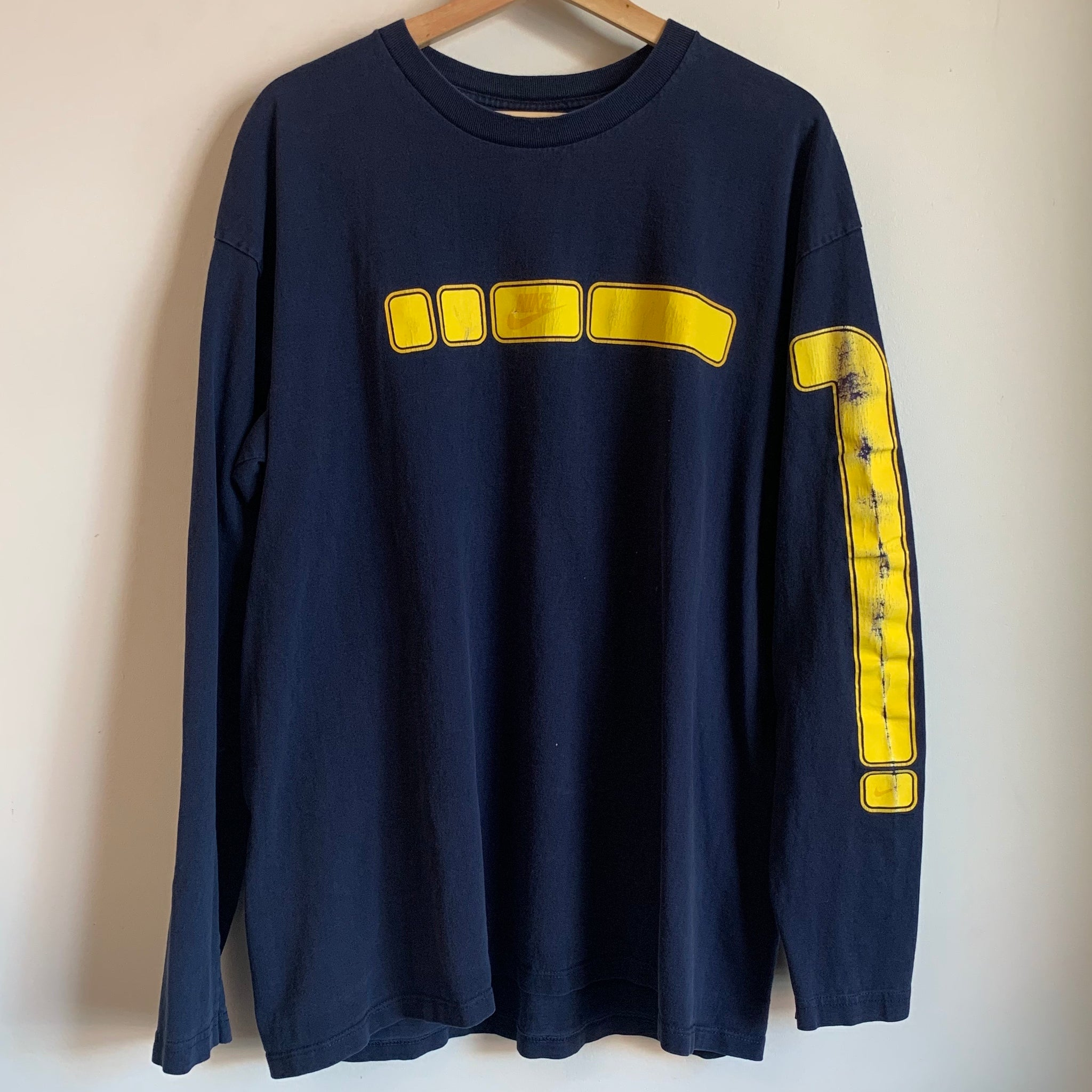 Nike Yellow Font Navy Long Sleeve