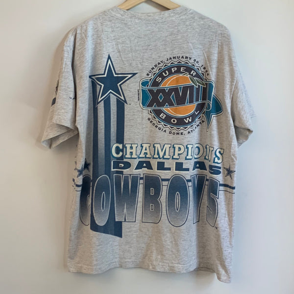 Salem Sportswear Dallas Cowboys Super Bowl XXVIII Champions Gray Tee Shirt