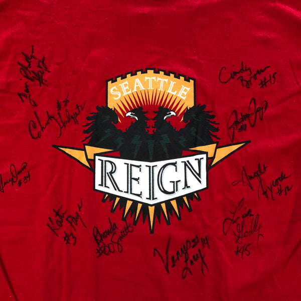 Nike Seattle Reign Team-Signed ABL Basketball Red Tee Shirt
