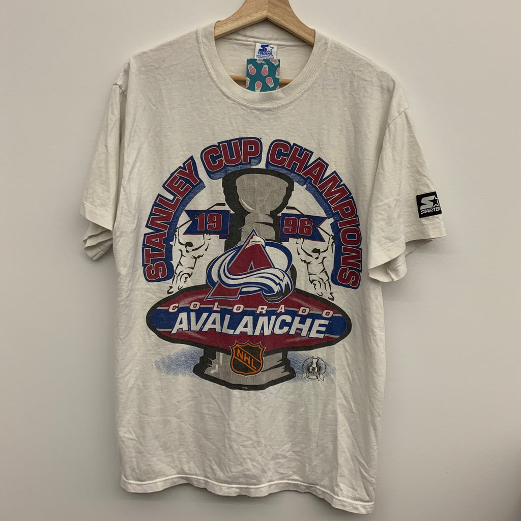 1996 Starter Colorado Avalanche Stanley Cup Champions White Tee Shirt