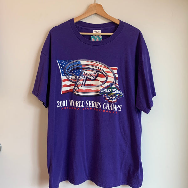 2001 Arizona Diamondbacks World Series Champs Purple Tee Shirt