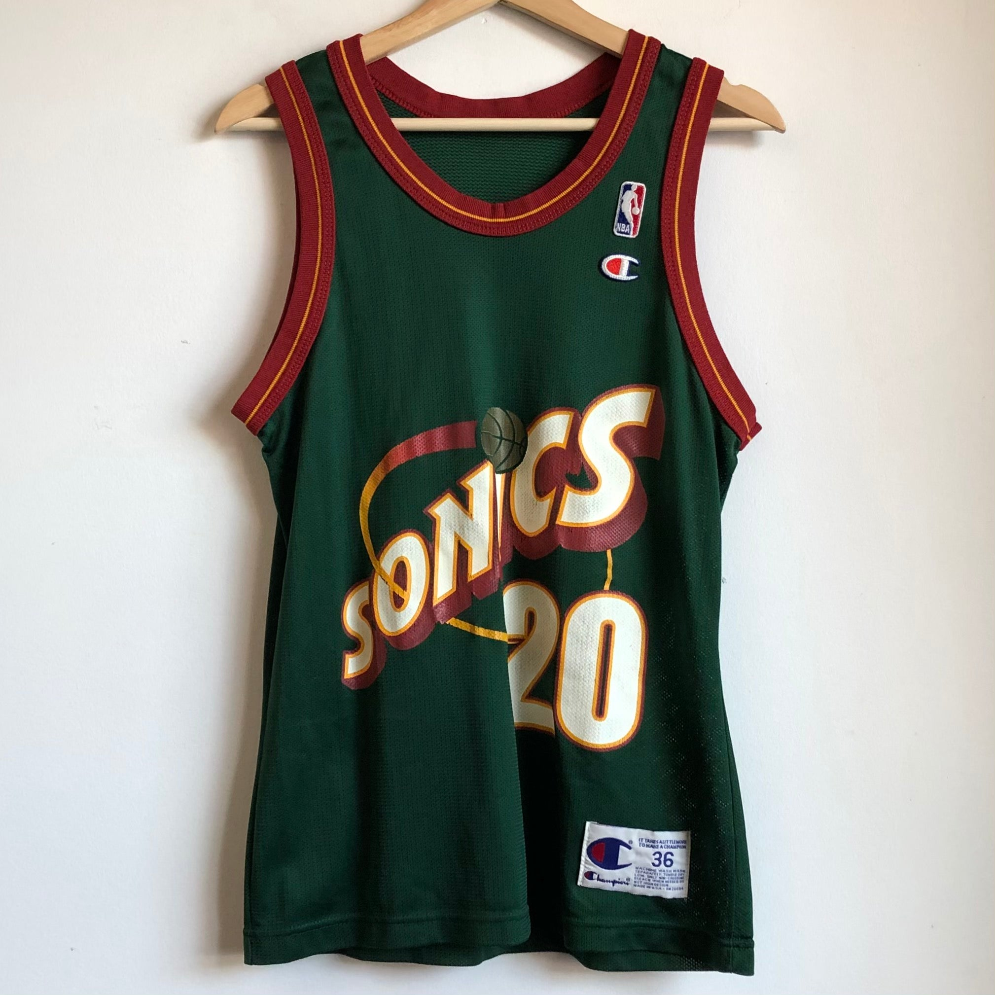 Champion Gary Payton Seattle SuperSonics Green Basketball Jersey