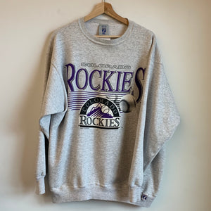 Logo 7 Colorado Rockies Gray Crewneck Sweatshirt