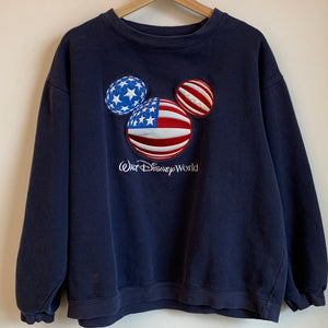 Walt Disney World Embroidered USA Flag Mickey Mouse Crewneck Sweatshirt