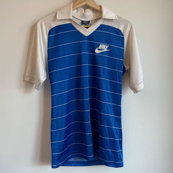 1980s Nike Striped Blue Soccer Jersey