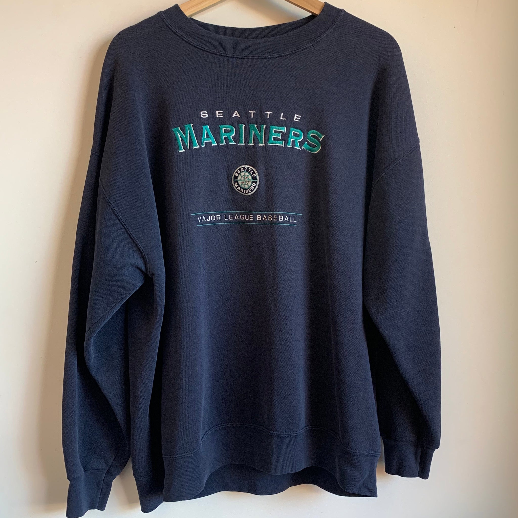 Lee Sport Seattle Mariners Navy Embroidered Crewneck Sweatshirt