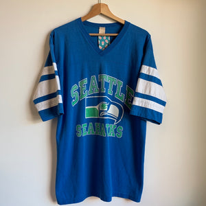 Seattle Seahawks Blue V-Neck Tee Shirt