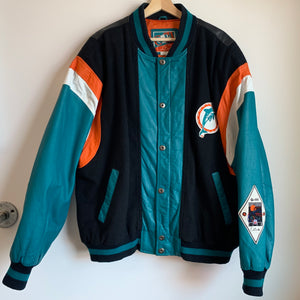 Carl Banks Miami Dolphins Leather Jacket