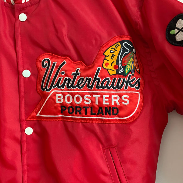 1980s Portland Winterhawks Boosters Red Satin Jacket
