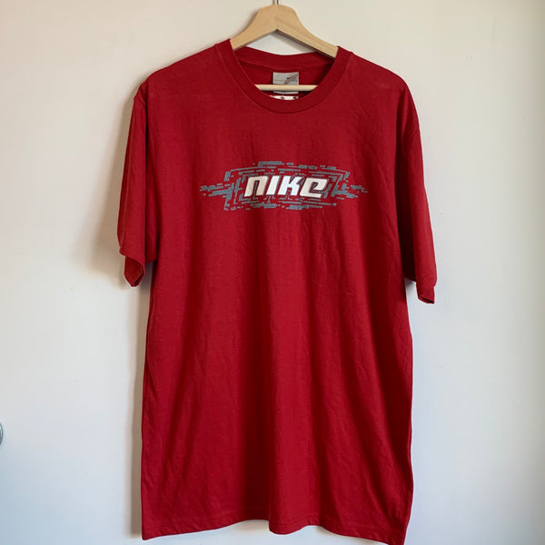 Nike Puffy Print Red Spell Out Tee Shirt
