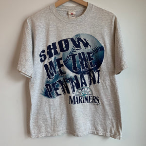 1997 Seattle Mariners Show Me The Pennant Grey Tee Shirt