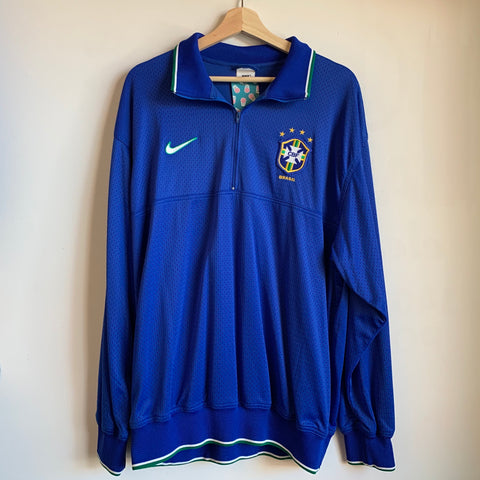 Nike Brazil National Football Team Blue 1/2 Zip Jacket