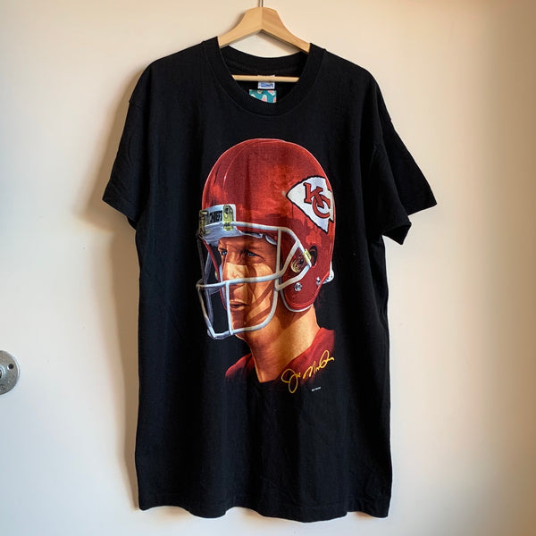 1994 Salem Sportswear Joe Montana Kansas City Chiefs Portrait Tee Shirt