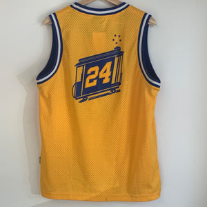 Reebok Rick Barry  Golden State Warriors Yellow Youth Swingman Basketball Jersey