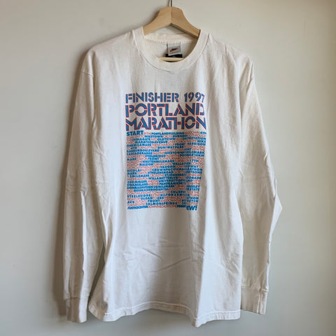 1997 Nike White Tag Portland Marathon Finisher Long Sleeve Tee Shirt