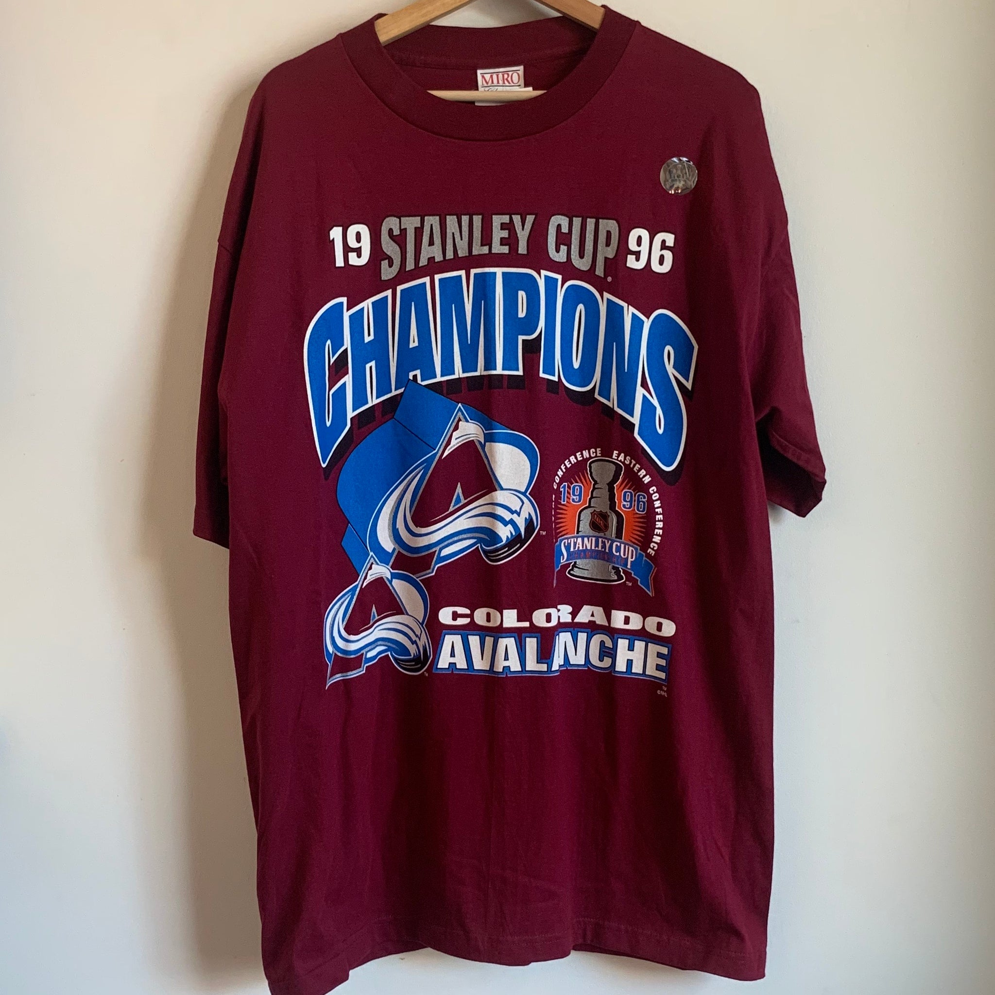 1996 Colorado Avalanche Stanley Cup Champions Maroon Tee Shirt