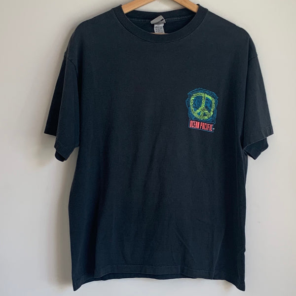 Ocean Pacific Peace Sign Black Tee Shirt