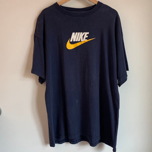 Nike Yellow Swoosh Navy Tee Shirt