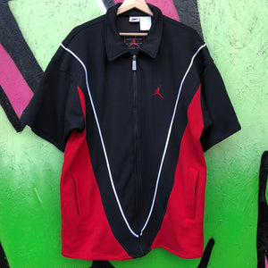 1990s Nike Air Jordan Black / Red Warmup Jacket Shooting Shirt