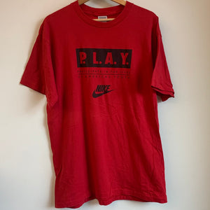"Nike Gray Tag ""Will We Ever Learn"" Red P.L.A.Y. Tee Shirt"
