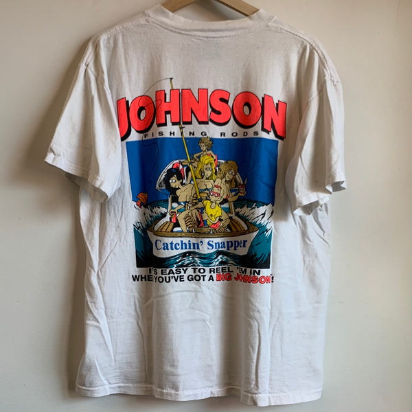 Oneita Johnson Fishing Rod White Tee