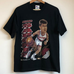 Pro Player Arvydas Sabonis Portland Trail Blazers Caricature Youth Tee Shirt