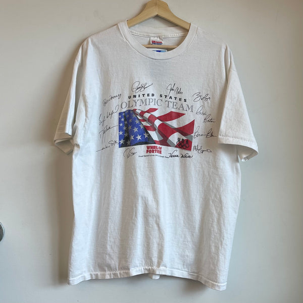 1996 Wheel Of Fortune United States Olympic Team White Tee Shirt